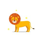 istock Cute happy lion stands on isolated white background 1312833807