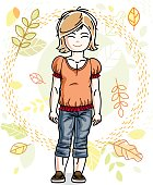 Cute happy little blonde girl posing on background of autumn landscape and wearing fashionable casual clothes. Vector character.