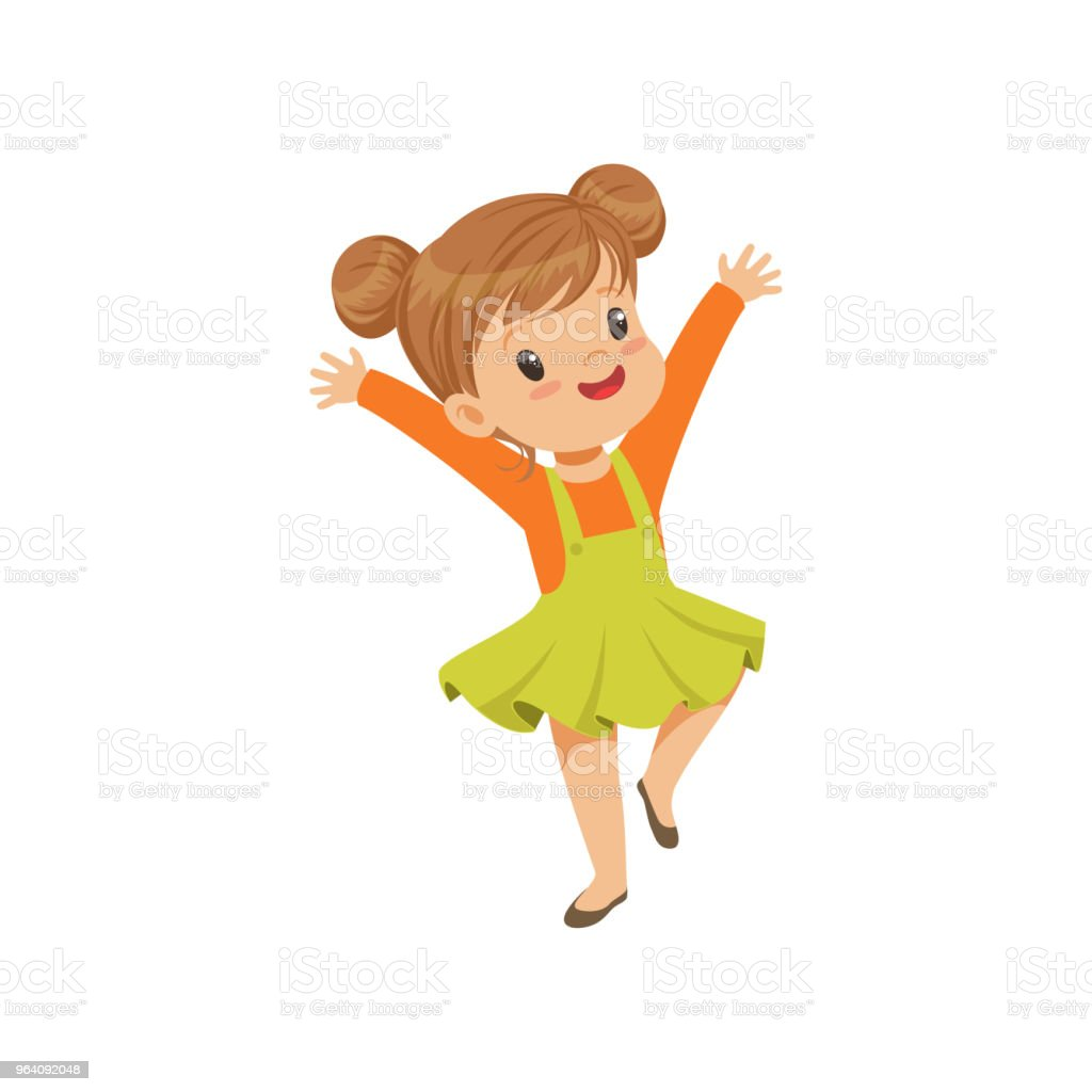 Cute happy little girl dancing in casual clothes vector Illustration on a white background - Royalty-free Arts Culture and Entertainment stock vector