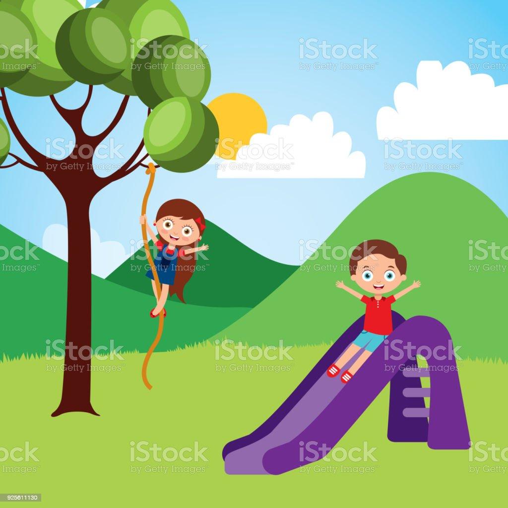 Ilustración de Lindo Feliz Poco A Los Niños Jugar Cuerda De árbol ...