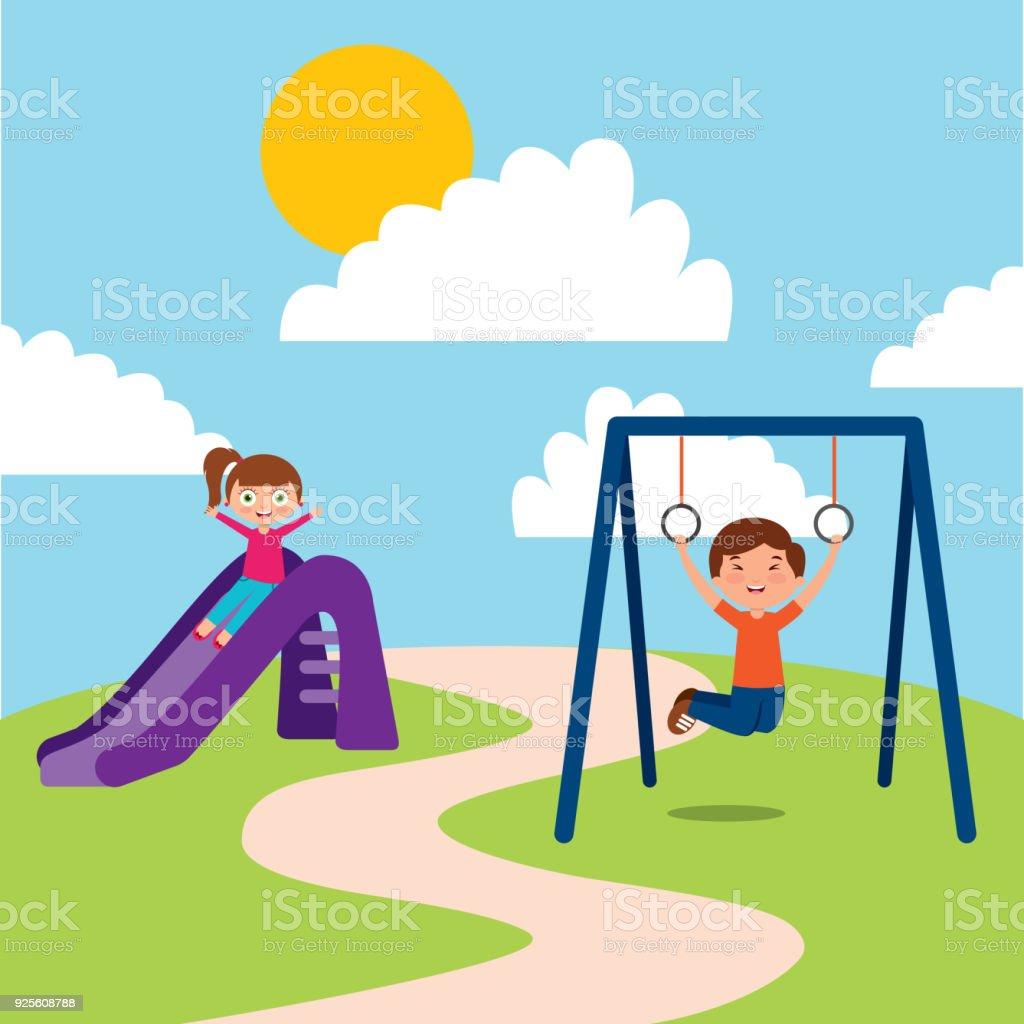 Ilustración de Lindo Feliz Poco A Los Niños Jugar Juegos De Saltar ...