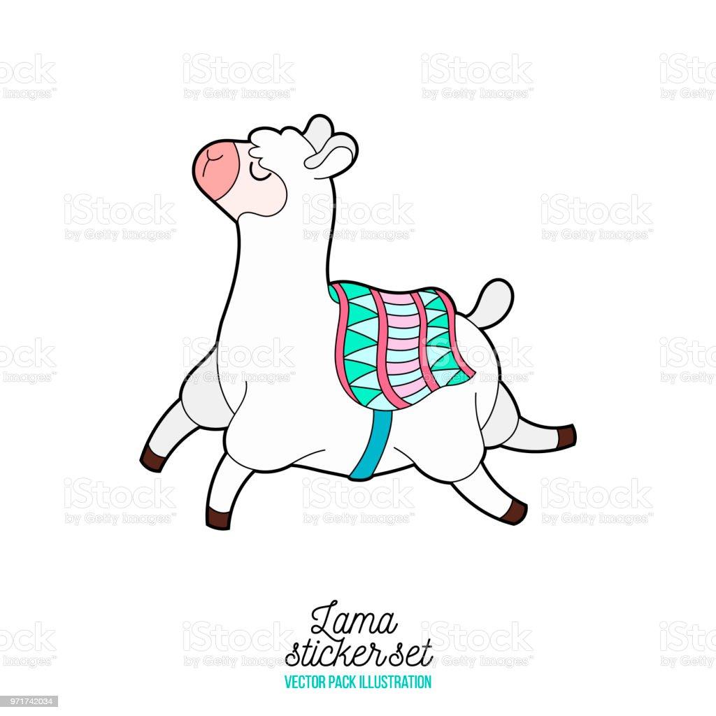 cute happy llama running llama flying isolated vector icon