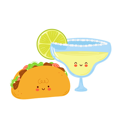 Cute happy margarita cocktail glass and taco