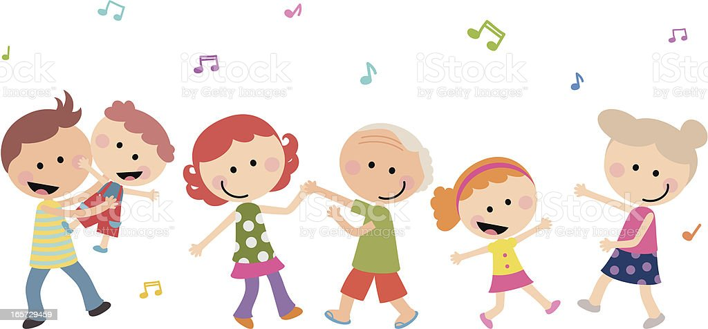 Cute Happy Multi-generation Family Dancing vector art illustration