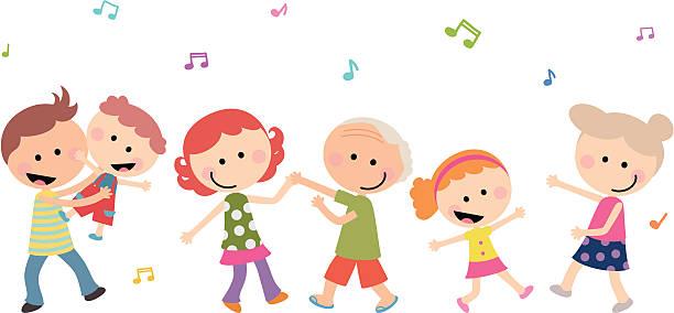 bildbanksillustrationer, clip art samt tecknat material och ikoner med cute happy multi-generation family dancing - aktiva pensionärer utflykt