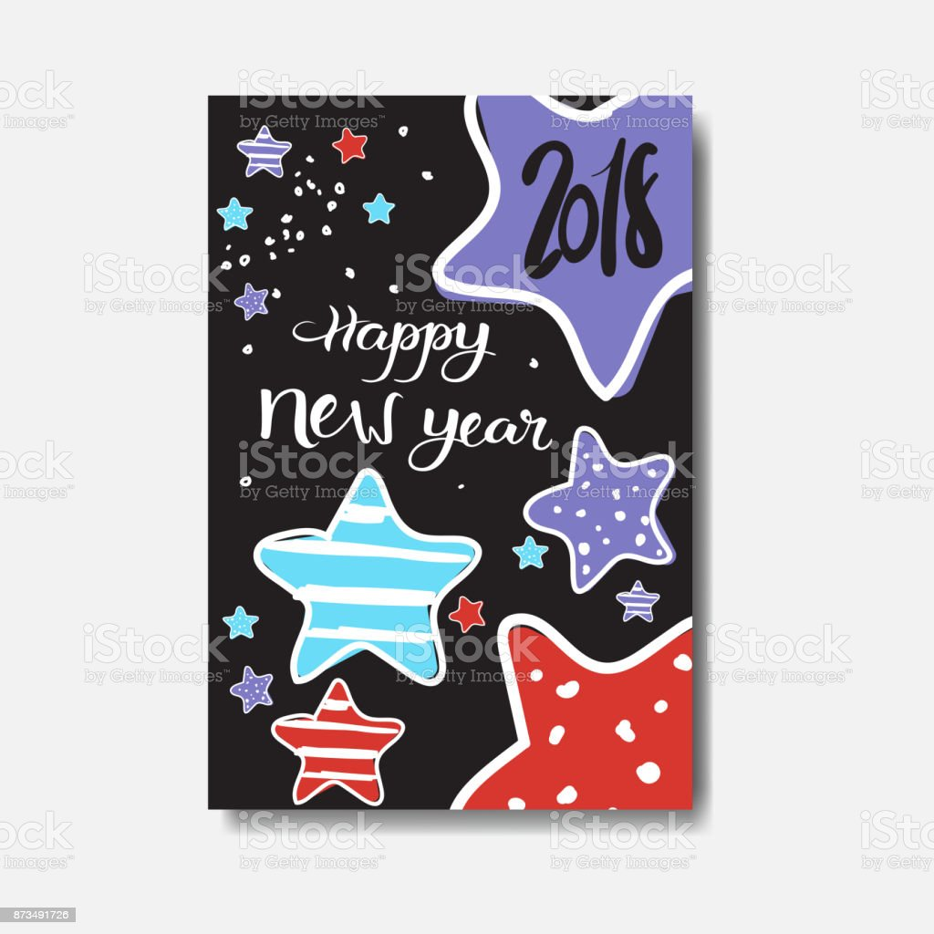 cute happy new year 2018 card doodle design winter holiday poster royalty free cute happy