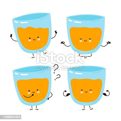 Cute happy orange juice character set collection. Isolated on white background. Vector cartoon character illustration design, simple flat style