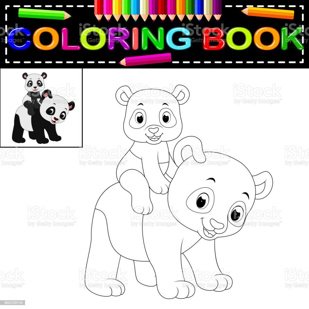 Ilustración de Libro De Colorear Panda Feliz Lindo y más banco de ...