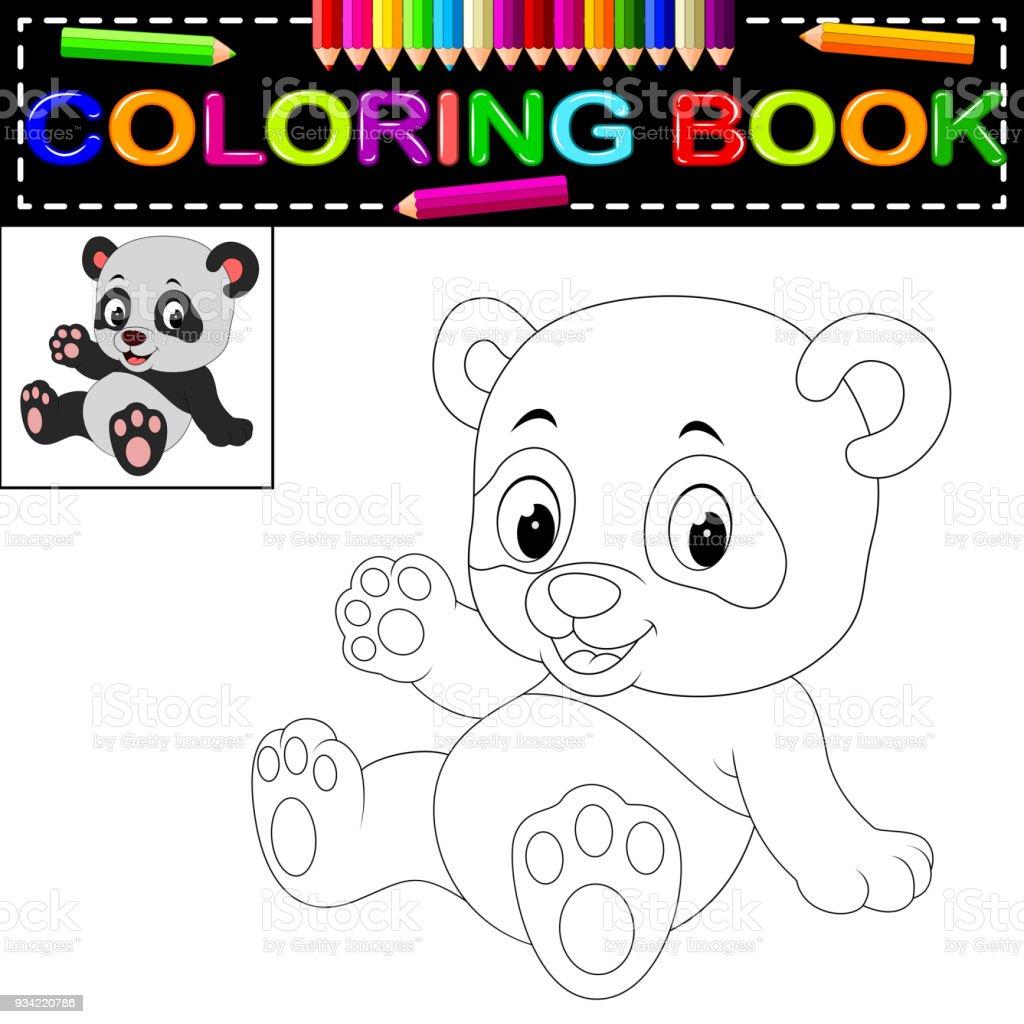 Sirin Mutlu Panda Boyama Kitabi Stok Vektor Sanati Anaokulu Nin