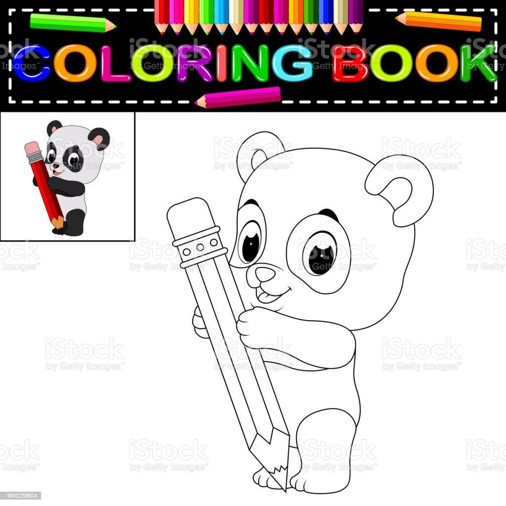 şirin Mutlu Panda Boyama Kitabı Stok Vektör Sanatı Anaokulunin