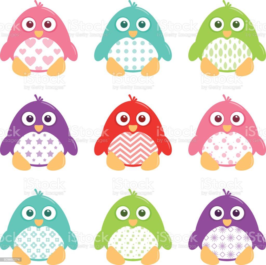 Cute Happy Patterned Penguins Set vector art illustration