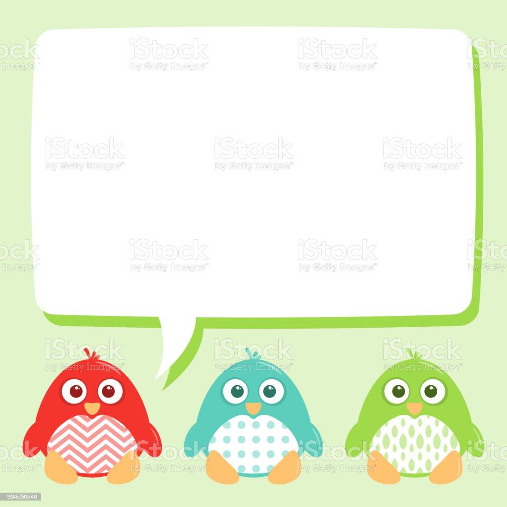 Cute Happy Patterned Penguins Speech Bubble vector art illustration