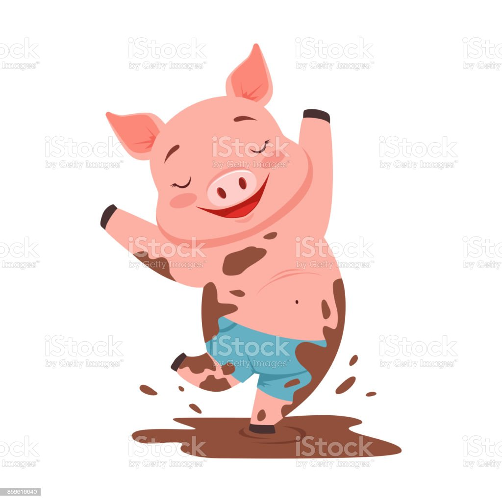 Niedliche glücklich Schwein springt in einen schmutzigen Pool, lustige Cartoon Tier Vektor Illustration – Vektorgrafik