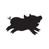 Cute happy pig silhouette.