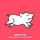 Cute happy pig.