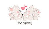 """Cute happy rat family say """"I love my family""""."""