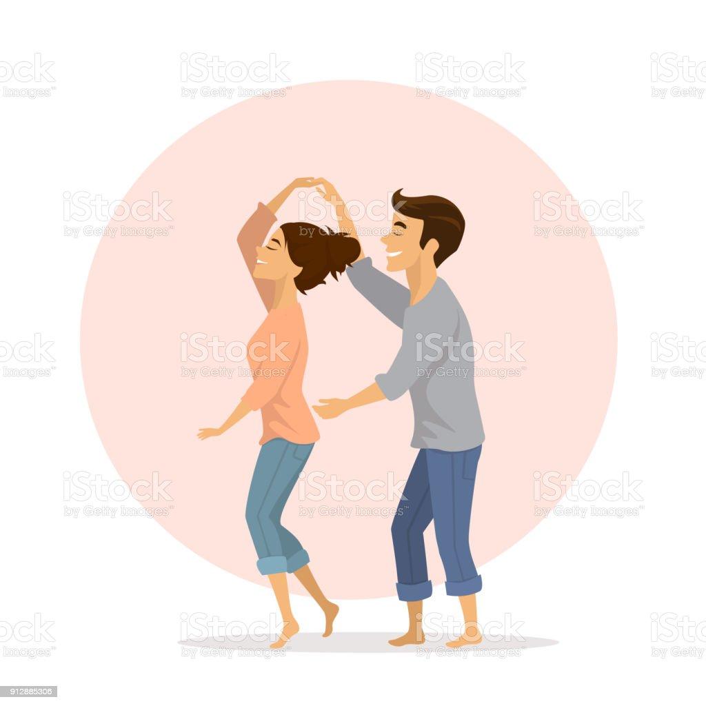 bonito casal romântico apaixonado se divertindo dançando em casa - ilustração de arte em vetor