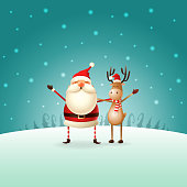Cute happy Santa Claus and Reindeer celebrate Christmas - winter landscape - Christmas card