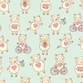 Cute happy sheep with different mood and elements. Vector funny seamless pattern