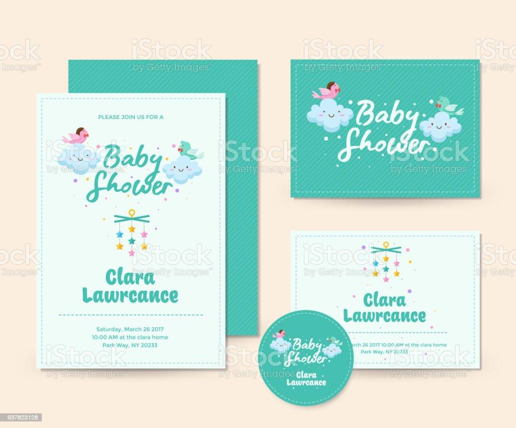 Cute Happy Singing Bird Theme Baby Shower Invitation Card ...