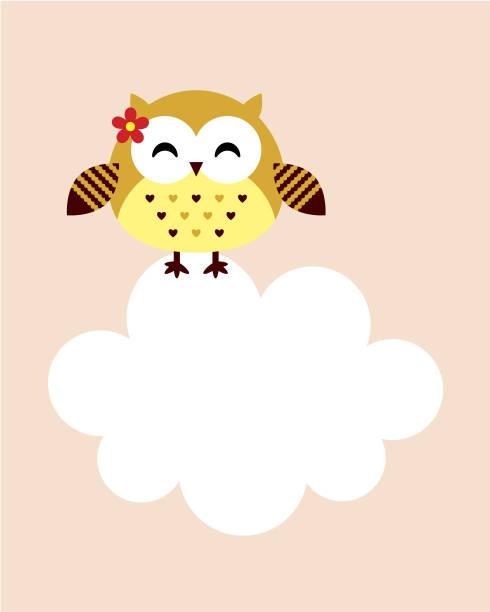 süße glückliche Smiley Eule Vogel Vektor – Vektorgrafik