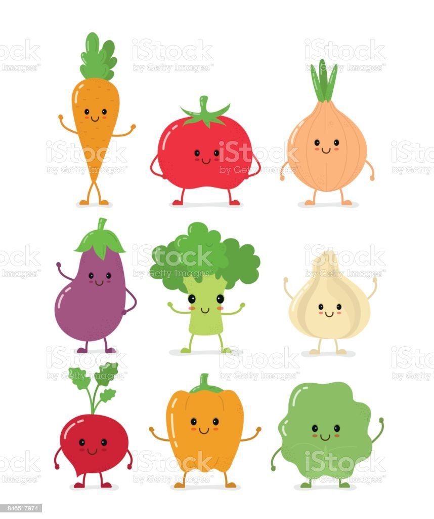 Cute happy smilig raw vegetable collection vector art illustration