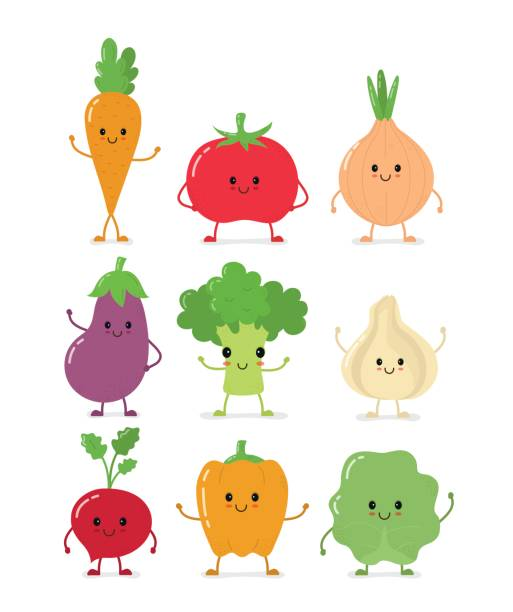 Cute happy smilig raw vegetable collection Cute happy smilig raw vegetable collection set.Vector flat style cartoon character illustration.Isolated on white background. Carrot, tomato, onion, eggplant, garlic, broccoli, cabbage, pepper, radish radish stock illustrations