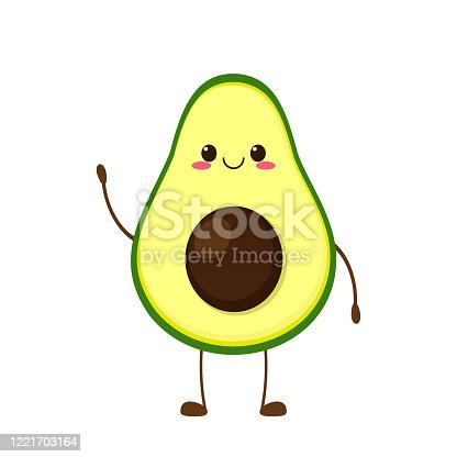 istock Cute happy smiling avocado character 1221703164