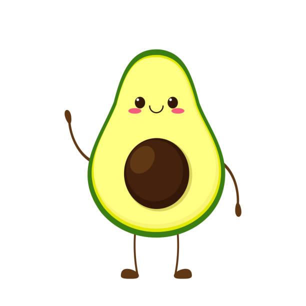 Cute happy smiling avocado character Cute happy avocado character. Funny smiling avocado cartoon emoticon in flat style. Fruit emoji vector illustration avocado stock illustrations