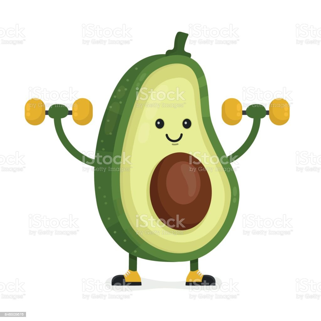 Cute happy smiling avocado vector vector art illustration