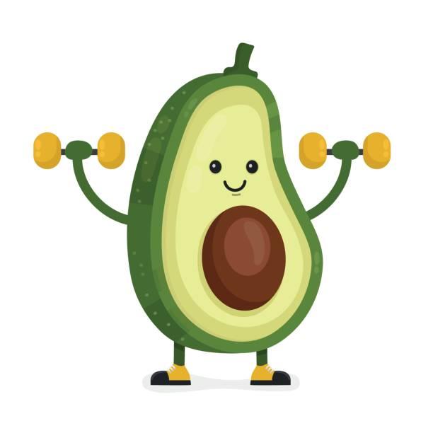 Cute happy smiling avocado vector vector art illustration