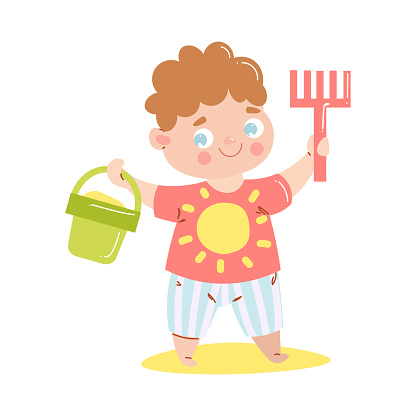 Cute happy smiling baby in red t-shirt standing and holding a rake and the bucket with sand. Vector illustration in flat cartoon style.