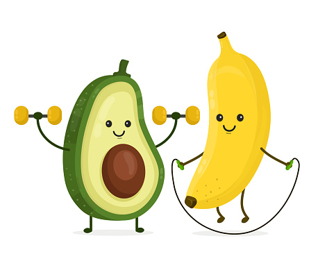 Cute happy smiling banana and avocado