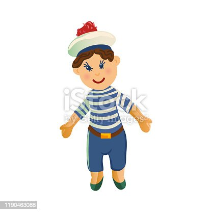 Cute happy smiling brown-haired boy doll in the clothes of a sailor. Vector illustration in flat cartoon style.