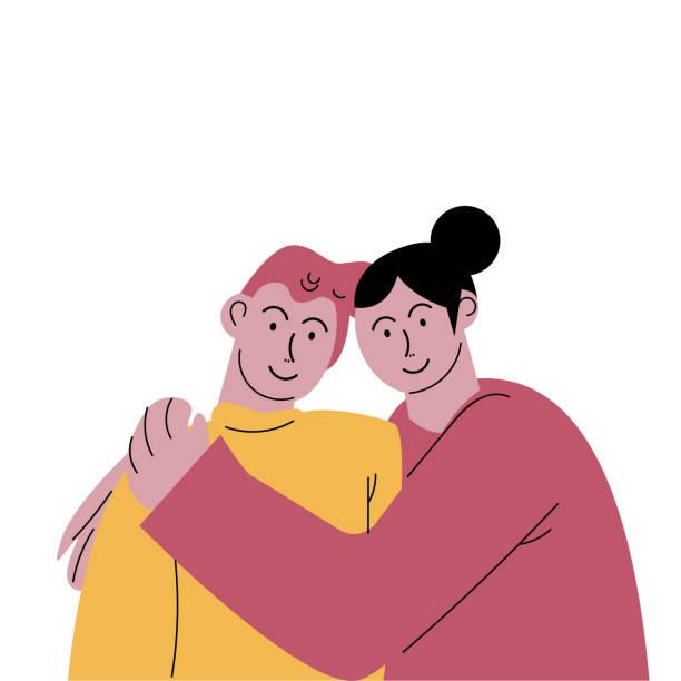 かわいい幸せな笑顔のカップルの男と黒髪の女性が優しく抱きしめる。フラットな漫画スタイルでのベクトルイラスト。 - 妻点のイラスト素材/クリップアート素材/マンガ素材/アイコン素材