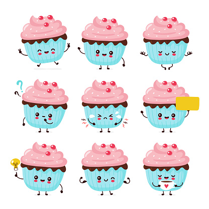 Cute happy smiling cupcake set collection