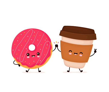 Cute happy smiling donut and coffee cup
