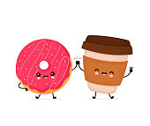 istock Cute happy smiling donut and coffee cup 1211851539