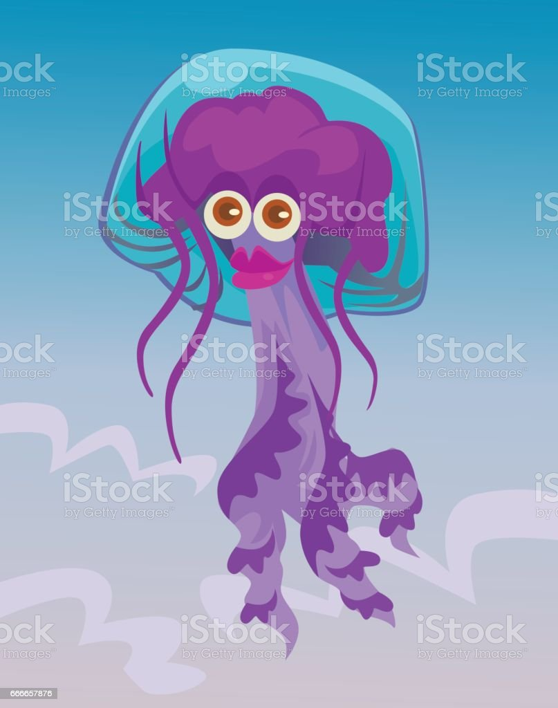 Cute happy smiling female jellyfish character vector art illustration