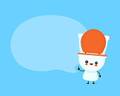 Cute happy smiling toilet bowl with speech bubble. Vector flat cartoon character illustration icon design. WC, toilet bowl concept