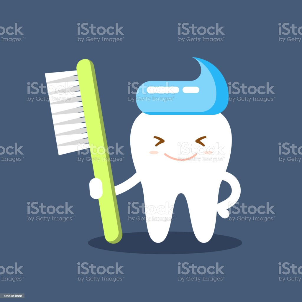 Cute happy smiling tooth with toothbrush and toothpaste hairstyle. Clear tooth concept. Brushing teeth. Dental kids care. Flat illustration on the theme of dentistry. Isolated vector. cute happy smiling tooth with toothbrush and toothpaste hairstyle clear tooth concept brushing teeth dental kids care flat illustration on the theme of dentistry isolated vector - stockowe grafiki wektorowe i więcej obrazów bez ludzi royalty-free