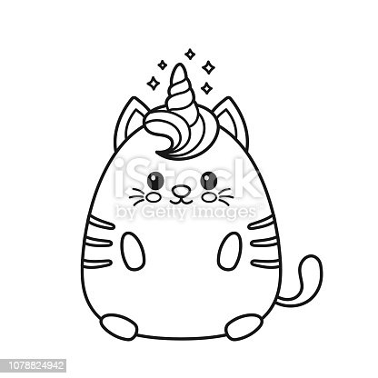 Cute happy smiling unicorn cat. Design for child t-shirt,coloring book. Girls, kid. magic unicorn cat coloring drawing book concept. Isolated on white background