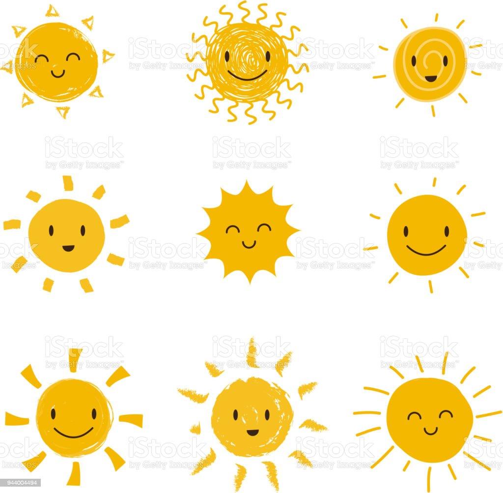 Gülen Yüz şirin Mutlu Güneş Yaz Güneş Vektör Izole Ayarla Stok