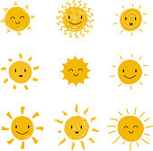 Cute happy sun with smiley face. Summer sunshine vector set isolated. Face smile sun, cartoon yellow shine illustration