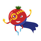 Cute happy tomato superhero cartoon character of a vegetable in costume, mask and cloak. Vector concept illustration in a flat style for a healthy eating and lifestyle