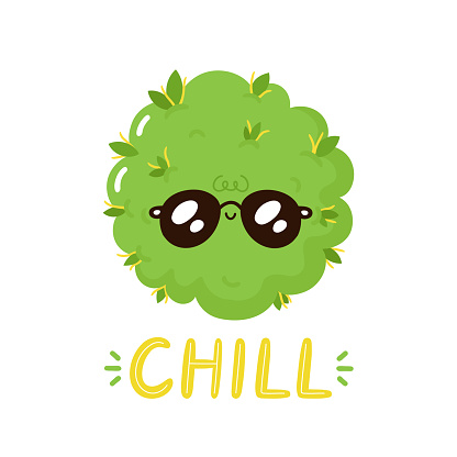 Cute happy weed bud character. Chill print design