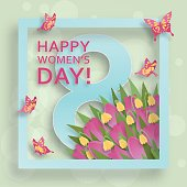 Cute Happy Womens Day background in paper art style