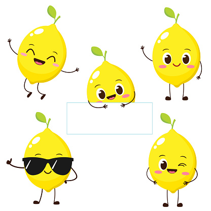 Cute happy yellow lemon character