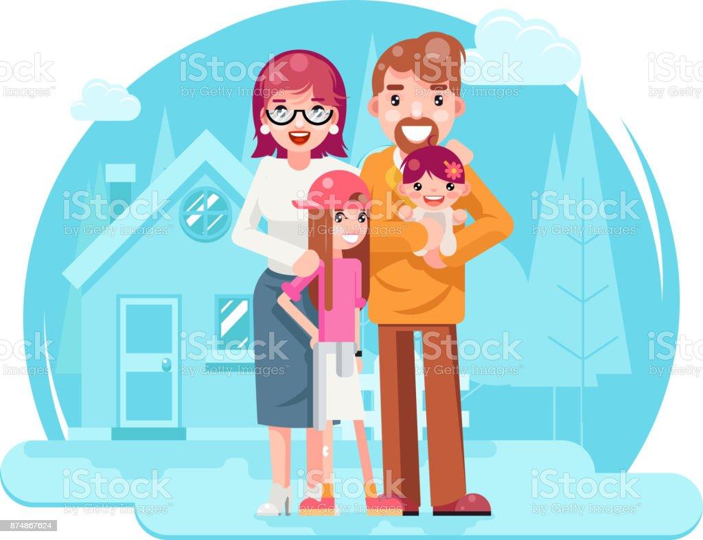 Niedliche Glückliche Junge Familie Mutter Vater Tochter Mit Neuen ...