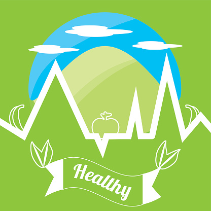 cute healthy lifestyle symbol with mountain and ekg